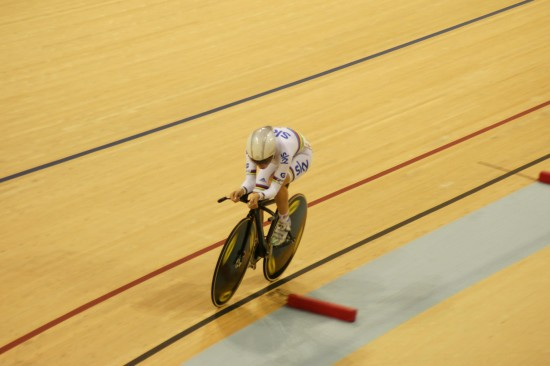 Laura Trott on her way to winning the 500m time trial and Omnium overall
